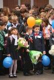 kalla först September 1, kunskapsdag i rysk skola Dag av kunskap första skola för dag Royaltyfri Bild