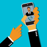 Kalla för affärsman av mobiltelefonen, händer, vektor, lägenhetstil för rengöringsduk Royaltyfria Bilder