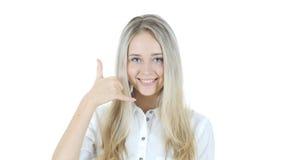 Kalla mig gesten av kvinnan, sammanfoga mig, hjälplinjen, vit bakgrund Fotografering för Bildbyråer