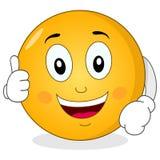 Kalla Smiley Character med tummar upp Arkivbilder
