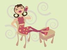 kalla telefonkvinnabarn stock illustrationer
