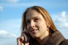 kalla telefonkvinnan Arkivfoto