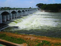 Kallanai Dam With Watter Stock Image