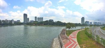 Kallang riverside park. Panoramic view of Kallang river at Kallang riverside park in Singapore royalty free stock photography