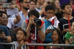 Kallang-Singapour 30 juillet 2018 : Photographe officiel dans le duri d'action images libres de droits