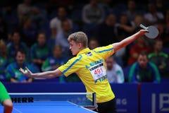 KALLBERG Anton on serve. KALLBERG Anton from Sweden on serve. 2017 European Championships - 1/4 Final. Luxembourg Stock Image