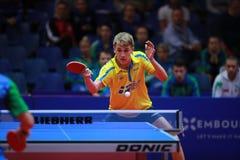 KALLBERG Anton backhand. KALLBERG Anton from Sweden backhand. 2017 European Championships - 1/4 Final. Luxembourg Stock Photo