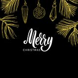 Kalligrafibokstäver och jul för glad jul klottrar på svart bakgrund Arkivbilder