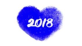 Kalligrafie 2018 binnenkant een bevroren hart met blauwe chromakey stock footage