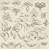 Kalligrafie decoratieve grenzen, sierregels, verdelers Stock Afbeeldingen