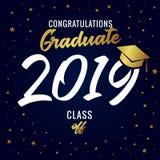 Kalligrafie het Een diploma behalen klasse van de vectorillustratie van 2019 royalty-vrije illustratie