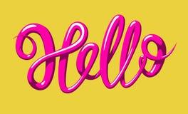 Kalligrafie met het woord Hello Hand het getrokken van letters voorzien in 3d stijl Vectordieillustratie, op geel wordt geïsoleer Stock Fotografie