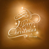 Kalligrafie Vrolijke Kerstkaart Stock Afbeeldingen