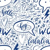 Kalligrafiehand die naadloos patroon van letters voorzien Positieve tekens, ster, hart, toespraakbellen, geometrische vormen Perf royalty-vrije stock afbeelding