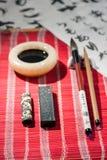 Kalligrafiehulpmiddelen op de lijst Stock Foto's