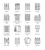 Kalligrafihjälpmedel och material Vektorlinje symboler royaltyfri illustrationer