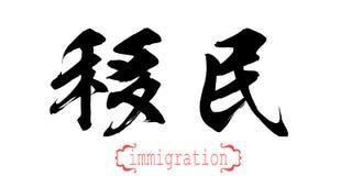 Kalligrafiord av invandring i vit bakgrund vektor illustrationer
