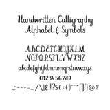 Kalligrafisch alfabet Met de hand geschreven borsteldoopvont In hoofdletters, in kleine letters, ampersand Huwelijkskalligrafie Royalty-vrije Stock Foto