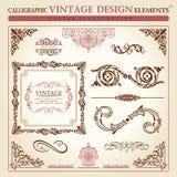 Kalligrafisch elementen uitstekend Vectorframe Royalty-vrije Stock Foto