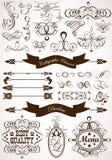 Kalligrafisch en bloemenelement Royalty-vrije Stock Foto's
