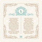 Kalligrafisch grenskader Ontwerpmalplaatje voor de kaart van de huwelijksgroet, uitnodiging, menu Stock Afbeelding