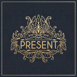 Kalligrafisch ontwerpelement Gouden merk Royalty-vrije Stock Foto's