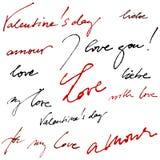Kalligrafische achtergrond voor de dag van de valentijnskaart Stock Foto