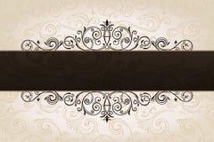 Kalligrafische bruine bannerachtergrond. Wijnoogst Royalty-vrije Stock Afbeeldingen