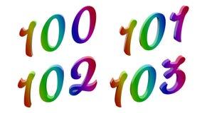 Kalligrafische 3D Teruggegeven Cijfers stock illustratie