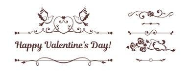 Kalligrafische die elementen, duiven, harten op witte achtergrond worden geïsoleerd Stock Foto's