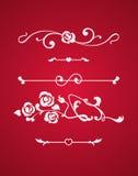 Kalligrafische die elementen met harten op rode achtergrond worden geïsoleerd Royalty-vrije Stock Afbeeldingen
