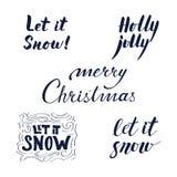 Kalligrafische die uitdrukkingen voor Kerstmis en Nieuwjaar worden geplaatst vector illustratie