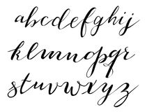 Kalligrafische doopvont het van letters voorzien vector Stock Afbeeldingen
