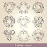Kalligrafische elementen uitstekende reeks Vectorkaderornament Stock Afbeelding