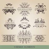 Kalligrafische elementen uitstekende reeks Vectorkaderornament Royalty-vrije Stock Afbeeldingen