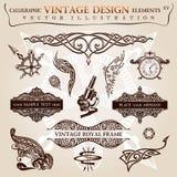 Kalligrafische elementen uitstekende Vectorsymbolen Royalty-vrije Stock Foto