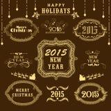 Kalligrafische en typografische inzameling voor Kerstmis en Nieuwe Ye Stock Foto's