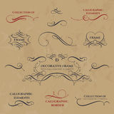 Kalligrafische Frames en grenzen Royalty-vrije Stock Fotografie
