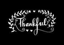 Kalligrafische getrokken hand dankbaar Stock Illustratie