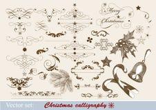 Kalligrafische het ontwerpelementen van Kerstmis Stock Afbeeldingen