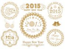 Kalligrafische inzameling voor Gelukkig Nieuwjaar en Vrolijke Kerstmis c Stock Foto's