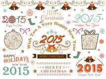 Kalligrafische inzameling voor Gelukkige Vakantie, Nieuwjaar en Vrolijk C Stock Foto
