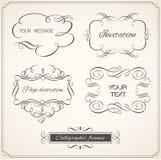Kalligrafische kader en paginadecoratiereeks Royalty-vrije Stock Foto's