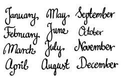 Kalligrafische maandnamen geplaatst vector Royalty-vrije Stock Afbeeldingen