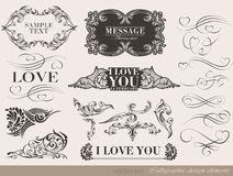 Kalligrafische ontwerpelementen Royalty-vrije Stock Foto's