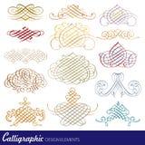 Kalligrafische ontwerpelementen Stock Afbeeldingen