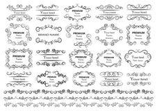 Kalligrafische ontwerpelementen De decoratieve wervelingen of de rollen, uitstekende kaders, bloeien, etiketteren en verdelers Re royalty-vrije illustratie