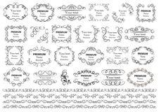 Kalligrafische ontwerpelementen De decoratieve wervelingen of de rollen, uitstekende kaders, bloeien, etiketteren en verdelers Re stock illustratie