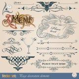 Kalligrafische ontwerpelementen en paginadecoratie Stock Afbeeldingen