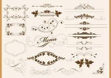 Kalligrafische ontwerpelementen en paginadecoratie Stock Foto